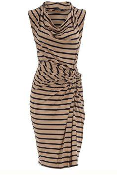 My Style:  Dorothy Perkins. YEA!! tan and black horizontal stripe; side drape; loose collar