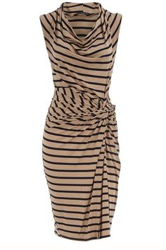 My Style:  Dorothy Perkins. YEA!! tan and black horizontal stripe; side drape; loose collar