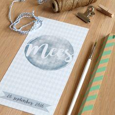 Geboortekaartje voor Mees! Mijksje   ontwerp   aquarel   wieber   birth announcement   hip   uniek   custom-made   waterverf   blauw   jongen   illustratie   illustration   modern   eenvoudig   lief   speciaal papier   speciaal   structuurpapier