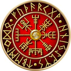 Norse Vegvisir Runes - Red