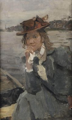 Isaac Israels (1865-1934) Lady with a red hat on the river Thames, London