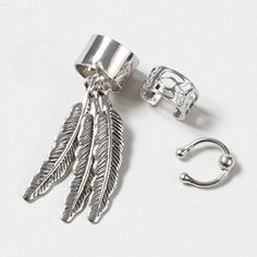 For the trendy accessory-lover: Ear Cuff with Feathers Set of 3