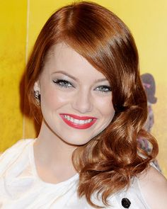 To recreate Emma Stone's hair color for your salon clients, use Organic Color Systems ammonia free hair color and following the following hair color formula and styling instructions/  Hair Color Formula  Using 7bc, 8cr (equal parts) and 20 volume Hairmonics; Apply color from roots to ends; Process 15 minutes under the heat and 10 minutes out; Wet hair slightly, Emulsify, Rinse until water runs clear, Shampoo and Condition.