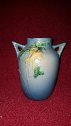 "Vintage Roseville Original Columbine 14-6"" Double-Handled Blue Vase. by TimelessArtLLC on Etsy"