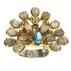 Michael Valitutti Labradoite and Topaz 'Peacock' Ring (Size: 7 - Gold Plated), Two-Tone Peacock Ring, Topas, Wide Band Rings, Engraved Jewelry, Jade Jewelry, Size 10 Rings, Topaz Ring, Beautiful Rings, Jewelry Stores