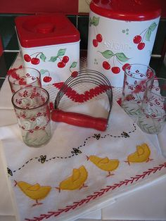 Cherry kitchen canisters and cute tea towel with chicks