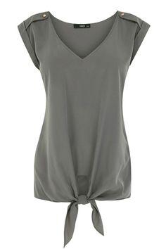 Button Shoulder V Neck Top / #clothes #fashion #style