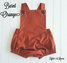 Burnt Orange Romper Fall Romper Baby Romper by RyleeAndRoscoe