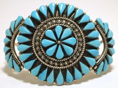 Zuni Turquoise Sterling Silver Cuff Bracelet - Augustine Pinto