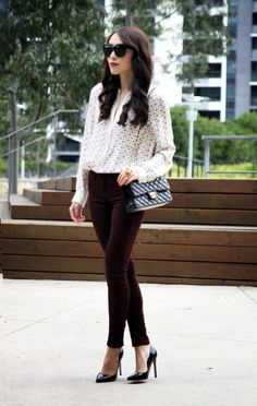 Both in for fall: printed top and burgundy pants.