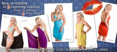 Available in 5 stunning colours: Dress to impress in 4 easy steps! Bikini Dress, Kisses, Dress To Impress, Beachwear, Wrap Dress, Colours, Bikinis, Easy, How To Wear