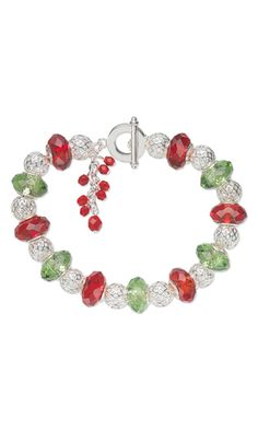 Bracelet with Dione™ Glass and Silver-Plated Brass Beads, Czech Fire-Polished Glass Beads and Silver-Plated Brass Beads