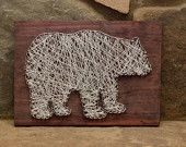 Custom Wood Wildlife Bear String Art Home Decor, Cabin Decor