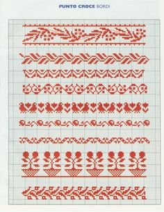 Red border patterns / chart for cross stitch, crochet, knitting, knotting, beading, weaving, pixel art, micro macrame, and other crafting projects.