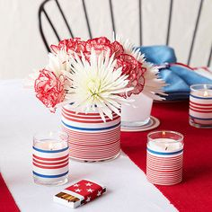 Top your July tablescape with patriotic table decorations—like these homemade candleholders and vases. Make these centerpieces your own with red, white, and blue patterned paper. Simply attach to the clear vessels using adhesive. Fourth Of July Decor, 4th Of July Celebration, 4th Of July Decorations, 4th Of July Party, July 4th, Craft Decorations, Ribbon Decorations, Patriotic Crafts, Patriotic Party