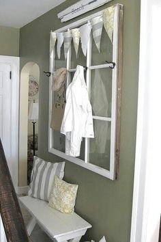 Might fit in entryway - with the hooks and maybe mirrors.Dishfunctional Designs: Window of Opportunity: Old Salvaged Windows Get New Life As Unique Decor Old Window Projects, Home Projects, Cadre Design, Old Window Frames, Window Panes, Window Ideas, Window Wall, Window Hanging, Reclaimed Windows