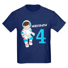 $24 Astronaut Birthday T-Shirt for an outer space themed kids party. Customize with your child's name and age on a deep blue background with a cool kid astronaut floating on it. Example shown is Matthew. 4th birthday in light blue.