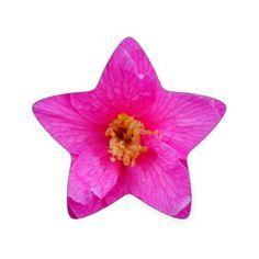 Pink Camellia Flower Star Sticker  $5.55  by EnglishGardener  - custom gift idea