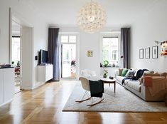 Apartments, Comfy Living Room With Grey Sofa: Dazzling Apartment Design with Chic Balcony Apartment Renovation, Apartment Design, Beautiful Living Rooms, Beautiful Interiors, White Apartment, Home Projects, Home Interior Design, Home And Living, Home Goods