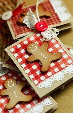 bileciki do prezentów Create Christmas Cards, Christmas Ideas, Gingerbread Cookies, Scrapbooking, Joy, Ornaments, Holiday Decor, Gifts, Home Decor