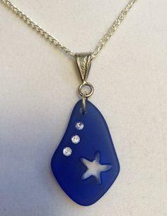 Blue Sea Glass and Crystal Necklace by joytoyou41 on Etsy