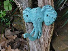 Elephant Hook / Wall Decor / Aquamarine / Boys Room  /Cast Iron / Nursery Decor / Shabby Chic Decor. $14.00, via Etsy.