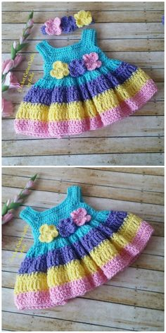 You are going to love this Crochet Baby Dress Pattern Ideas and we have a number of cute projects including free patterns for you to try. Crochet Baby Dress Pattern, Baby Dress Patterns, Hat Patterns, Crochet Girls, Newborn Crochet, Knit Crochet, Crochet Hats, Crochet Baby Sweaters, Baby Knitting