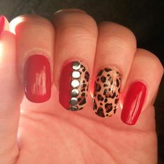 Cheetah and red nails with nail studs