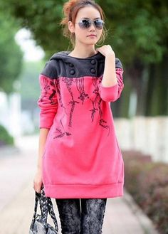 Pink Hoodie (would prefer without the hood but love the butons and color/design) Sweatshirts Online, Cool Outfits, Sweaters For Women, Women Wear, Tunic Tops, Clothes For Women, Casual, How To Wear, Printed Hoodies