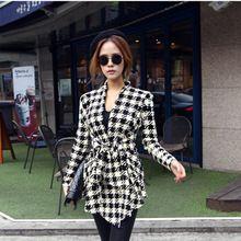 2016 Mode Lente Herfst Jacket Vrouwen met lange mouwen houndstoothdruk Top Casual Slim Belt peplum Cardigan Coat Jassen CL0271 (China (vasteland))