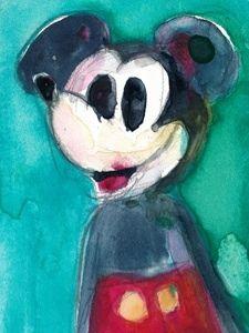"RIFKIN ""MICKEY MOUSE"" Original ACEO Watercolor"