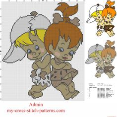 Bamm Bamm Rubble and Pebbles Flintstone from The Flintstones cartoon free cross stitch pattern