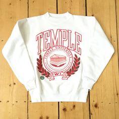 Vintage 80s Temple University Owls Red & Green Logo White