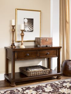 Shop Ashley Furniture Porter Brown Sofa Console Table with great price, The Classy Home Furniture has the best selection of Sofa Tables to choose from Entryway Furniture, Furniture Logo, Rustic Furniture, Table Furniture, Living Room Furniture, Home Furniture, Living Room Decor, Furniture Buyers, Living Area
