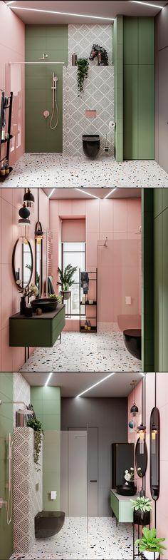 What Style Is My Home Decor Pink and green open concept bathroom. Style Is My Home Decor Pink and green open concept bathroom. Bad Inspiration, Bathroom Inspiration, Bathroom Layout, Bathroom Interior Design, Interior House Colors, Dream Bathrooms, Cheap Home Decor, Home Remodeling, House Design