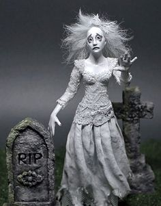~*~ OOAK ~*~ 1:12 MINIATURE GHOST ~ Art Doll Woman Fantasy Fairy ~ Handmade ~*~