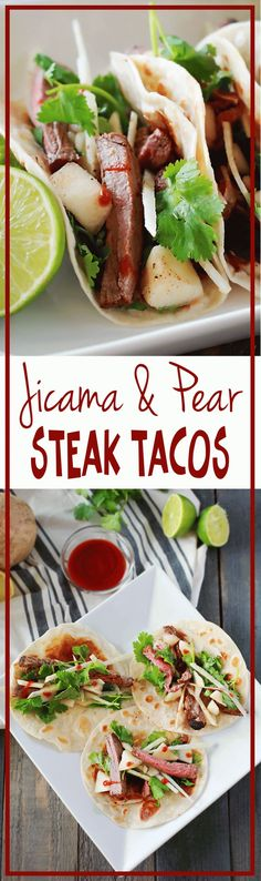 Pear and Jicama Steak Tacos recipe by Flirting with Flavor! THis flavor combination is AMAZING!!! and she gives whole 30 and Paleo options. WIN!