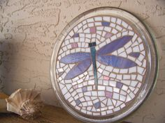 Mosaic Home Decor - Candle Holder - Purple and Blue Dragonfly - made from hand-cut Stained Glass.    Set in front of a window - it will capture and
