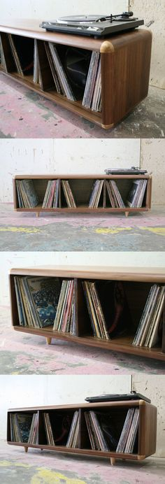 "The Record STACKS is a versatile vinyl record storage piece that can double as a media console, coffee table or bench.  Inspired by an old vintage guitar amp, the STACKS Collection are a unique series of storage pieces, as comfortable in a Brooklyn apartment as they would be in a mobile home in Tulsa.   Dimensions: 60"" x 16"" x 18"" d"
