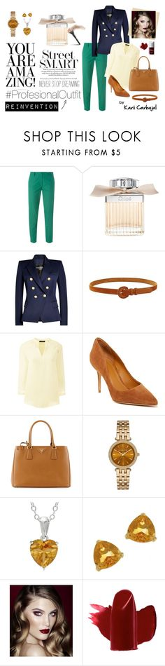 """""""#ProfesionalOutfit"""" by karii-carbajal ❤ liked on Polyvore featuring Vanessa Bruno, Chloé, Balmain, Forever 21, Lands' End, Kendall + Kylie, Prada, Michael Kors, Kabella Jewelry and Charlotte Tilbury"""