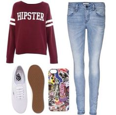 Maroon sweatshirt with light wash jeans and a white converse