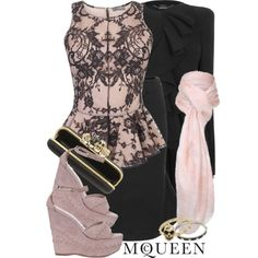 pink + lace, created by monchanel on Polyvore
