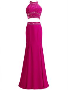 CoutureBridal Women's Prom Dresses Mermaid Two-Piece Halter Spandex Dresses Fuchsia-US16. Dress Condition: 100% Brand New, Handmade. Dress Style: Glamorous & Dramatic, Halter, Sleeveless, Two Pieces, Zipper Up. For Our dress, making dress needs about 15 business days, expedited shipping time to the USA about 10 business days. After you placed your dress order, please provide us your prom or party date, so we can ensure that you will receive the dress on time. NOTICE: Before Order, Please...