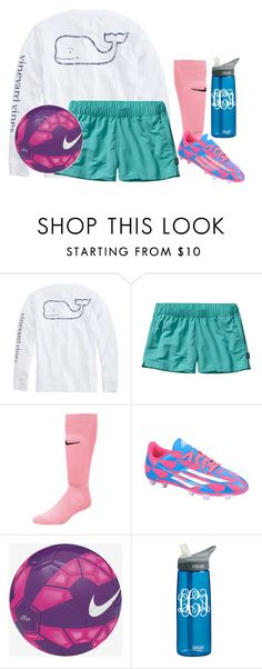"""soccer game tom!!"" by apemb ❤ liked on Polyvore featuring Vineyard Vines, Patagonia, adidas, NIKE, CamelBak, women's clothing, women, female, woman and misses"