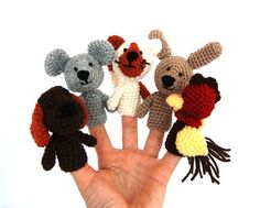 crocheted pet finger puppets, tiny mouse, cat, dog, bunny, hen, set of 5 miniature amigurumi, waldorf style fairy tale play, woodland autumn