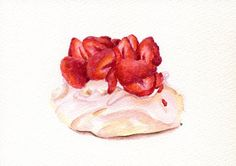 Strawberry Pavlova- ORIGINAL Painting (Desset Illustration, Still Life, Watercolour Food Wall Art) A5