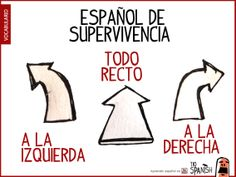 Dirección en español: A la izquierda, todo recto, a la derecha