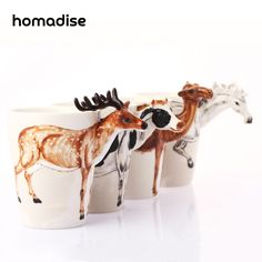 Новая Керамическая Чашка Кофе Чай с Молоком Кружки 3d-фигуры Животных Ручной Росписью Жираф Корова Обезьяна Чашки Творческая Личность Подарок(China (Mainland))