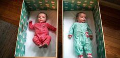 Sono seguro: estados americanos distribuem caixas de papelão para bebês