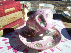 Pretty in Pink Vintage Teacup and Saucer Hand by AuntMaysBoutique